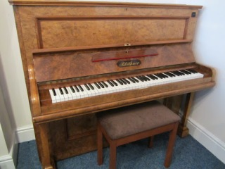 Burr Walnut Bluthner Upright Piano For Sale